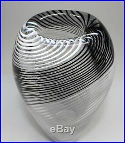 MCM Kosta Lindstrand Black & White Spiral Vase