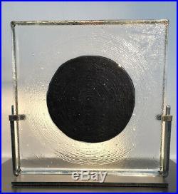 MINT BERTIL VALLIEN KOSTA BODA SWEDEN Signed Black Elements Black Moon Sculpture