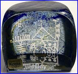 MINT KOSTA BODA Goran Warff LAPPLAND Series Stick People GLASS CUBE PAPERWEIGHT