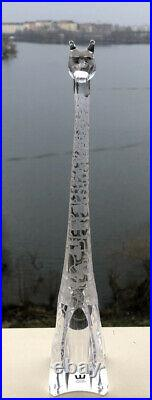 MINT! Signed VICKE LINDSTRAND KOSTA BODA Etched Glass Giraffe Sculpture, H 11