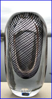 MINT! Signed VICKE LINDSTRAND KOSTA BODA Thickwall Glass Vase Brown Stripes, H6