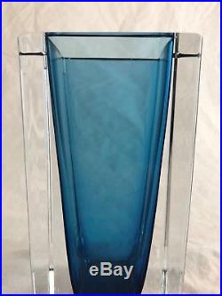 MId Century Modern Kosta Sweden Seguso Glass Vase, Blue Clear