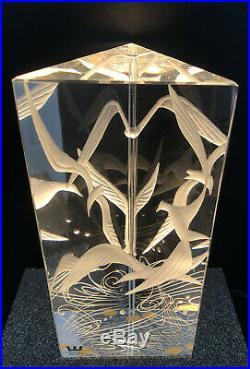 Magnificent Art Glass VICKE LINDSTRAND KOSTA BODA SWEDEN Signed Engraved Birds