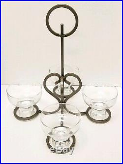 Mid century ERIK HOGLUND for Boda Nova Crystal and Iron Four-Light Chandelier