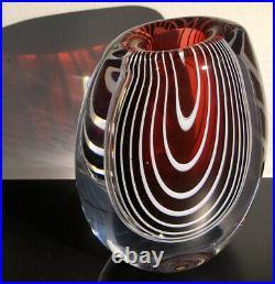 Mint! Heavy VICKE LINDSTRAND KOSTA BODA SWEDEN Signed Zebra Glass Vase 1950-60s