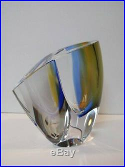 Mirage Vase Goran Warff Kosta Boda 7040704 Blue/Amber 6-1/8 Tall Brand New
