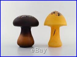 Monica Backström for Kosta Boda. Two mushrooms in colored art glass. 1980's
