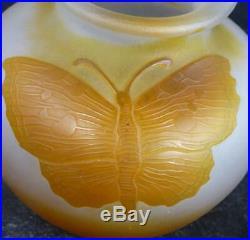 N902 Art Nouveau Karl Lindenberg Kosta Cameo Glass Butterfly Vase