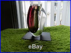 NEW KOSTA BODA MIRAGE 6-1/8 Vase Goran Warff Scandanavian Art Glass RED/GRAY