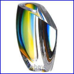 NEW Kosta Boda Mirage Blue & Amber Short Vase