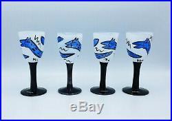NEW Kosta Boda STEMWARE 6 Glass By HYDMAN Signed LIMITED EDITION Blue RARE