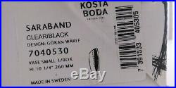 New 10 1/4 KOSTA BODA Sweden Goran Warff SARABAND Black & Clear Art Glass Vase