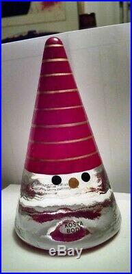 New withBox Kosta Boda Sweden Santa Noel Figurine Paperweight Anna Ehrner Red Gold
