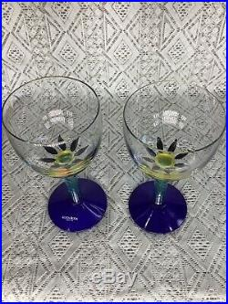 One Pair (2) Kosta Boda Signed & Numbered Ken Done Palm Tree Wine Glasses #24206