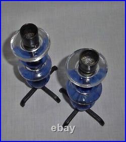 PAIR of CANDLESTICKS wrought iron + glass KOSTA BODA ERIK HOGLUND 60s