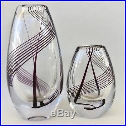 PAIR of MATCHING KOSTA BODA Art Glass SWIRL VASES by VICKE LINDSTRAND c. 1958-59