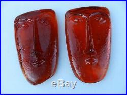 Pair 1960's Erik Hoglund Kosta Boda Tangerine Art Glass Face Masks Unsigned