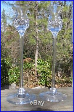 Pair (2) Kosta Boda Prince 11 Candlesticks Cut Crystal Candle signed Warff