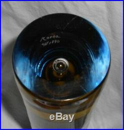Pair Of Kosta Boda Vicke Lindstand Swedish Art Vases Bubble Amber Blue Sommerso