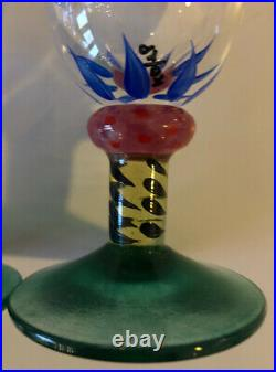 Palm Tree Ken Done KOSTA BODA Sweden Hand Painted Crystal Champagne Glass set