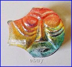 Paperweight Kosta Boda Art Glass Signed Kjell ENGMAN Face Original Tag MCM