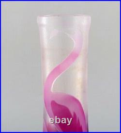 Paul Hoff for Kosta Boda. Vase in art glass with pink flamingo. Swedish design