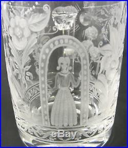 RARE KOSTA BODA Signed LINDSTRAND Engraved DALECARLIA Cut Crystal Art Glass Mug