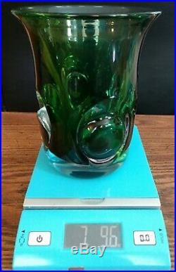 RARE Kost Sweden 1960's Ann & Goran Warff signed & numbered Art Glass Vase HEAVY