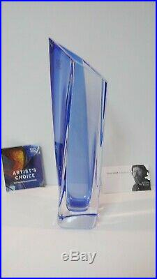 RARE Kosta Boda Signed Goran Warff Heavy SAILS Vase Clear/Blue ARTIST'S CHOICE