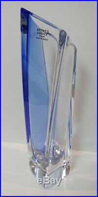 RARE Kosta Boda Signed Goran Warff (SAILS) Vase Clear/Blue ARTIST'S CHOICE (B)