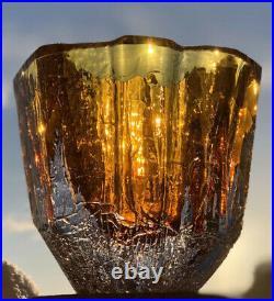 RARE LARGE SOLID GORAN WARFF KOSTA BODA Sweden Thick Wall Amber Art Glass Vase