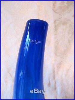 RARE Moonlanding Kosta Boda Monica Backstrom BLUE Art Glass Vase