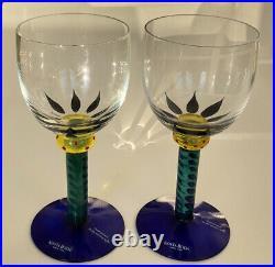 RARE Palm Tree Ken Done KOSTA BODA Sweden Hand Painted Crystal Wine Glass set