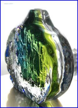 RARE SOLID GORAN WARFF KOSTA BODA Sweden Green Blue Thick Wall Art Glass Vase