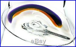 RARE Signed Kosta Boda Orchid Bowl Orange & Purple Art Glass Goran Warff 15.5