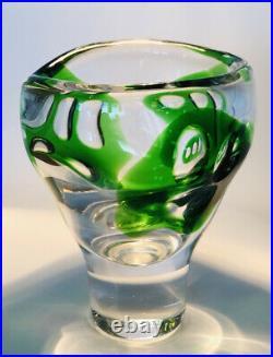 RARE Signed VICKE LINDSTRAND KOSTA BODA Vase Abstract Unikat Glass Serie, 1955