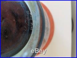 RARE Vintage Kosta Boda signed KJELL ENGMAN CanCan art glass footed bowl