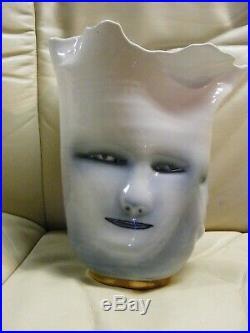 Rare 1996 Bing Gleitsmen 3 Faces Porcelian Vase approx 8 1/2 H VGC Free Ship