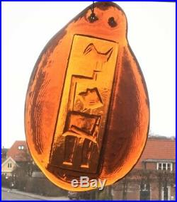 Rare 60s Erik Hoglund Kosta Boda Pojke Art Glass Suncatcher Scandinavian Retro