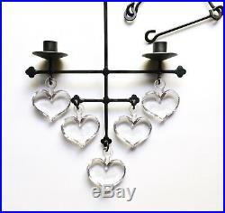 Rare Bertil Vallien Boda Glass & Iron Hanging Hearts Candelabrum, 1970s Sweden