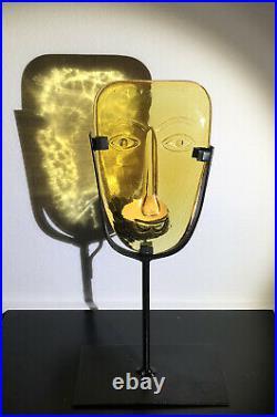 Rare ERIK HOGLUND KOSTA BODA SWEDEN Glass Face and Iron Candle Holder Yellow 11