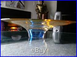 Rare Goran Warff AMBER Blue Large Kosta Boda Zoom Retired Centerpiece Dish 15