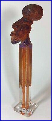 Rare Kosta Boda Kjell Engman Blown Glass Head on Stand Scandinavian Art Sweden