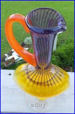 Rare Kosta Boda Rainbow Glass Handblown Glass Pitcher Signed & #89065