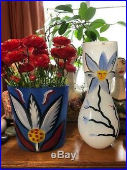 Rare Large Kosta Boda Ulrica Hydman Vallien Signed Art Vase Painted Flower 14