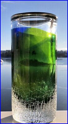 Rare Large Thick wall GORAN WARFF KOSTA BODA Sweden Art Glass Vase, H9