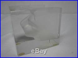 Rare Signed Kosta Boda Bertil Vallian Square Impressed Lion Face Paperweight