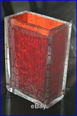 Rare Stunning KOSTA BODA CASED ART GLASS CLUB VASE Signed L. Lofgren MINT w BOX