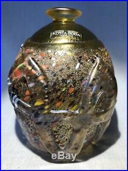 Rare Vase Bertil Vallien Kosta Boda Sweden Signed Hand Painted
