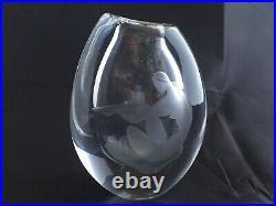 Rare Vintage Kosta Vase by Licke Lindstrand Nude Lady The Bath -Signed LG152